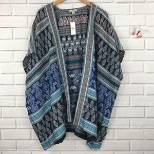 LOFT Kimono Cape Open Front Cardigan M/L